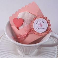 Simple, inexpensive favors executed with some creative paper punches // tea bag favor Tea Bag Favors, Tea Party Favors, Party Favor Tags, Party Gifts, Party Invitations, Gift Tags, Tea Party Table, Bridal Shower Tea, Bridal Showers