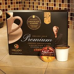 Organo Gold's Chocolate Almond is a decadent mix of two foods many have a hard time saying no to. Now you don't have to. Just enjoy them in your coffee.  12 BrewKups per box www.randkcafe.myorganogold.com
