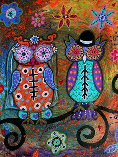 MEXICAN OWL WEDDING COUPLE  DIA DE LOS MUERTOS PAINTING Art Print