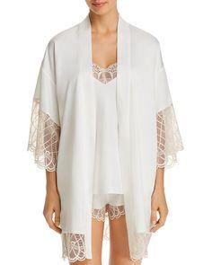 Flora Nikrooz - Gabby Kimono Robe Bridal Robes, Bridal Lingerie, Luxury Lingerie, Lace Trim, Tunic Tops, Pretty, Sleeves, Flora, Shopping