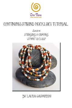 Continuous Strand Necklace Tutorial, seed bead stringing, boho jewelry tutorial, learn to bead, stringing and crimping, Mala style,Bead soup