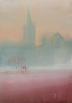 Innamorati abbaracciati dalla nebbia a venezia