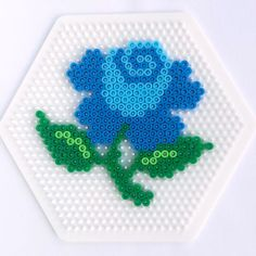 Blue rose hama perler beads