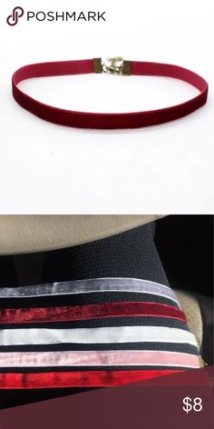 Burgundy Velvet Choker❤️ Thin black velvet choker with extender chain. Width: 1cm. Lobster clasp closure. Handmade. Comes in a gift bag. Super trendy! Available in 5 different colors! P.S. (Ive got 3 in the middle from 2nd pic plus black and turquoise colors) ❗️P.S. Price is firm!!! ❗️ Lulu's Jewelry Necklaces