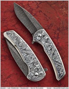 Knives of the Blade Show 2012 • Art, Classics, and Surprises Damascus Blade, Damascus Knife, Cool Knives, Knives And Swords, Knife Stand, Engraved Pocket Knives, Best Pocket Knife, Metal Engraving, Handmade Knives