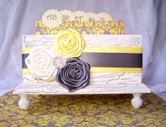 Guest Book Box   Yellow and Gray Ivory Shabby Chic Box by itsmyday, $68.00. Cute idea instead of book