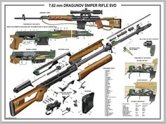 "Poster 12""x18"" Russian Dragunov Sniper Rifle SVD Manual Exploded Parts Diagram 
