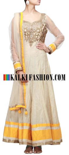 Buy Online from the link below. We ship worldwide (Free Shipping over US$100) http://www.kalkifashion.com/beige-anarkali-suit-enhanced-with-embroidered-yoke.html Beige anarkali suit enhanced with embroidered yoke