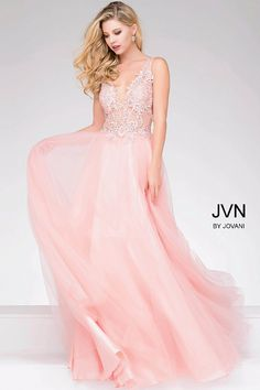 5048b925504 Pink Sheer Neckline and Embroidered Bodice Chiffon Prom Dress JVN47560