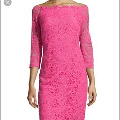 Monique Lhuillier Lace Dress Look at this lace! This dress is sure to make you pretty in pink! 3/4 sleeves, zip back, slight rouching in the back for a more flattering shape. This is the couture line by Monique Lhuillier, not her more common ML line, and retailed for $2495!! This is a steal! Monique Lhuillier Dresses