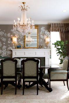 lovely wallpaper & chandelier