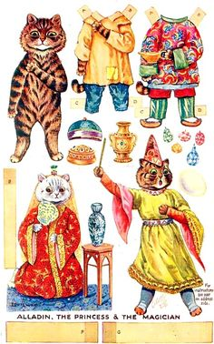 Aladdin Paper Dolls, With Cats