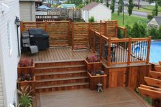 Deck Stairs with planter boxes
