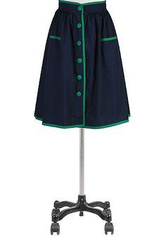 eShakti Tipped trim front-button skirt