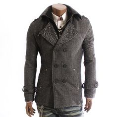 Doublju Mens Casual Wool PEA Herringbone Coat (920)