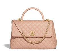 9640b2748064 Small Flap Bag with Top Handle - Pink - Grained Calfskin   Gold-Tone Metal  - Default view - see standard sized version