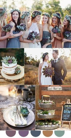Mauve, eggplant purple and dusty blue fall wedding colors {wine glass writer}