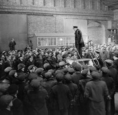 Winston Churchill addressing merchant ships' crews and dockers at Liverpool, April 1941.
