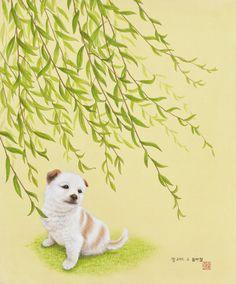 "Youngmi Jeon, ""봄바람""(2011)_비단에 채색(painting on silk)"