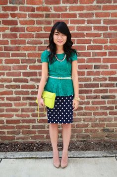 Polka dot skirt with lace green shirt from Target