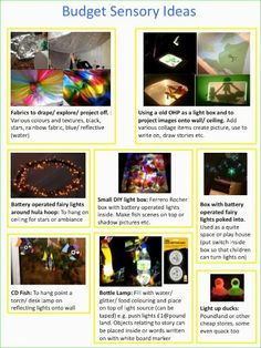 alljoinin.net blog: Budget Sensory Ideas.Fab fab fab blog full of practical ideas for early years and SEN