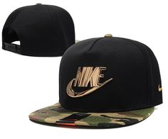 Mens Nike The Classic Nike Iron Gold Metal Logo A-Frame USA 2016 Best Quality Fashion Leisure Snapback Cap - Black / Camo