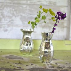 Florence silver glass vase