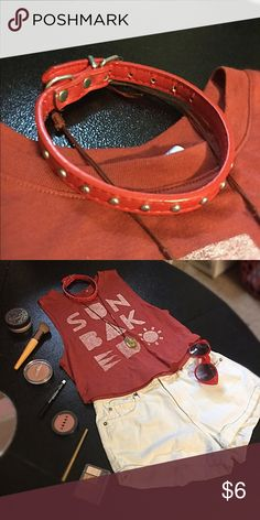 Red Studded Collar Choker Red silver studded collar, 13 inches max.  #red #redcollar #redchoker #choker #collar #studded #studdedchoker #studdedcollar #studdednecklace #rednecklace Jewelry Necklaces