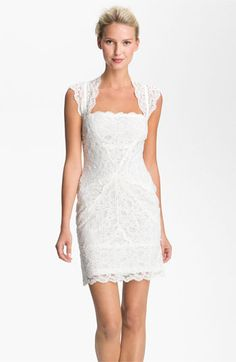 I wish it came in different collor, like turquise or eggplant. Nicole Miller Wide Strap Lace Sheath Dress available at #Nordstrom