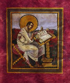 St, Matthew from the Coronation Gospels of Charlemagne (Carolingian). Matthew, early c. tradition says buried with Charlemagne in 814 than removed by Emperor Otto III in 1000 and used in coronation ceremonies of later German emperors Medieval Art, Dark Ages, Carolingian, Saint Matthew, Painting, Ap Art, Kunsthistorisches Museum, Art, Art History