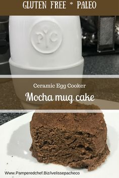 2 minutes Mocha cake using ceramic egg cooker. Chocolate and coffee=yummy! I use coffee flour but if you don't like coffee don't worry cause is actually a flour made out of the the coffee bean fruit. The added coffee is optional. Rockcrok Recipes, Mug Recipes, Baker Recipes, Microwave Recipes, Dessert Recipes, Recipies, Desserts, Pampered Chef Egg Cooker, Pampered Chef Recipes