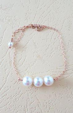 Rose Gold Filled Pearl Bracelet Three pearls best