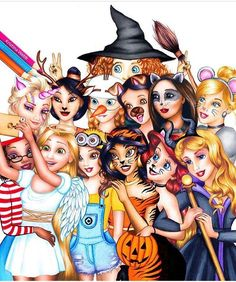 Credit to Kristina Webb/Color Me Creative // a Halloween twist on that Disney princess group pic // Disney princesses in costume for Halloween Disney Pixar, Disney Memes, Disney Fan Art, Disney E Dreamworks, All Disney Princesses, Disney Girls, Funny Disney, Disney Villains, Frozen Disney