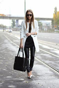 Black leather leggings, metallic pumps, white blazer