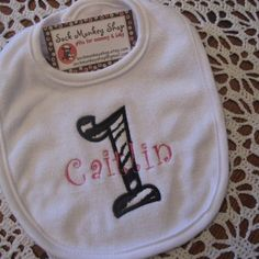 1st Birthday Zebra and Hot Pink Personalized Bib | sockmonkeyshop - Children's on ArtFire