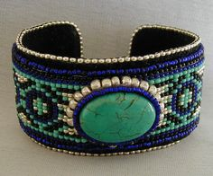 Turquoise and Cobalt Loom Beaded Cuff by SimplyBeadedTreasure, $75.00 #Loomjewelry