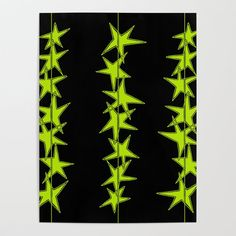 Strings of Stars - Black and Green Poster
