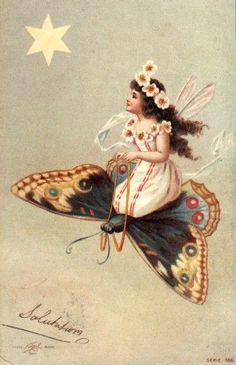 Fairy and butterfly on an antique postcard