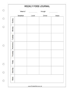 printable weekly food log