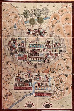 Matrakçı Nasuh-Beyan-i Menazil-i Sefer-i Irakeyn-i Sultan Suleyman-Bitlis, written circa (Istanbul University Library) Old Maps, Antique Maps, Medieval Manuscript, Illuminated Manuscript, Ancient Near East, Turkish Art, Classical Art, Ottoman Empire, Painting Lessons