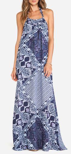 Bobi BLACK Halter Maxi Dress in Blue Combo