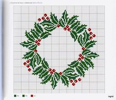 Xmas Cross Stitch, Just Cross Stitch, Cross Stitch Charts, Cross Stitch Designs, Cross Stitching, Cross Stitch Embroidery, Cross Stitch Patterns, Pinterest Christmas Crafts, Holly Images