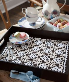 Vanessa Tray Doily   >>   Hmmmm, I wonder how this would look with regular acrylic yarn and made large...It is join as you go...  ;-)