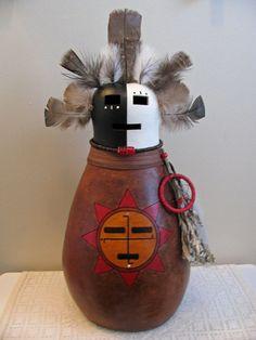 Gourd Art  Spirit of the Sun Kachina by SpeaksWithAncestors, $150.00
