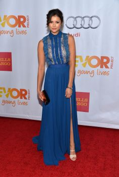 Nina Dobrev pulled off the whole princess look in cornflower blue Elie Saab