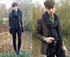 H Tweed Blazer, Agnès B. Velvet Shirt, H Skinny, Mujjo Touchscreen Gloves, Surface To Air Military Boots, Zara Belt, Home Made Scarf