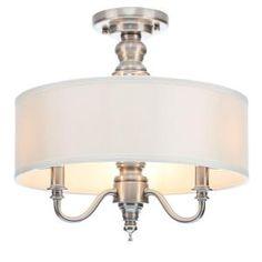 Hampton Bay, Gala 3-Light Polished Nickel Semi-Flush Mount Light, 14698 at The Home Depot - Mobile