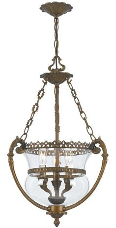 Crystorama Lighting Group 5793 Camden 3 Light Foyer Pendant with Urn Shade Antique Brass Indoor Lighting Pendants