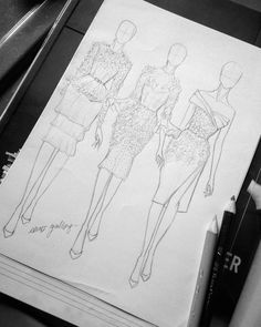 New Clothes Art Drawing Fashion Sketchbook Ideas Clothes Design Drawing, Dress Design Drawing, Dress Design Sketches, Fashion Design Sketchbook, Fashion Design Drawings, Fashion Sketches, Fashion Model Sketch, Dress Designs, Fashion Figure Drawing