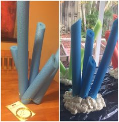 Plus Great Stuff Foam. Use flower wire to thread & wrap pool noodles that you have cut to various sizes. Don't worry it will dry & won't stick to plastic. Bible School Crafts, Preschool Crafts, Crafts For Kids, Girls Camp Decorations, Halloween Decorations, Operation Arctic, Cave Quest Vbs, Vbs 2016, Xmas Lights